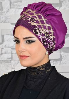 Eggplant Moru Gold Sequin Detailed Evening Dress Bone Thumbnail Rubin Turbans and Headbands Turban Hijab, Doek Styles, Head Scarf Styles, Hair Styles, Bridal Hijab, Hat Patterns To Sew, Millinery Hats, Nursing Clothes, Cute Hats