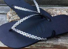 35c1424885cb1 Havaianas Slim Garden Flower Flip Flops Floral Daisy Custom w  Swarovski  Crystal Bride Slip on Beach Wedding Bridesmaid Bridal sandals Shoes