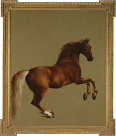 "Whistlejacket by George Stubbs (circa 1762) National Gallery, London. It has been described in The Independent as ""a paradigm of the flawless beauty of an Arabian thoroughbred"". Whistlejacket was a champion racehorse owned by the Marquess of Rockingham."