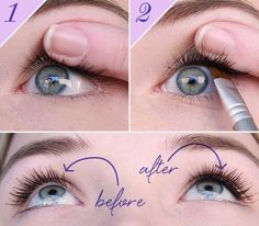 A great trick to make your lashes look fuller and define the eyes. Take an eyeliner, as long as it's not a liquid formulation, and use an eyeliner brush, either flat or angled, whichever you prefer, to apply the eyeliner underneath your top eyelashes, not above them. That area is called the waterline and because it tends to be naturally wet, you will need to really work the pigment into the skin. Notice how it makes the model's eyelashes look really dense & full in the after shot?