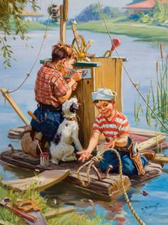 by Norman Rockwell Art And Illustration, Vintage Pictures, Vintage Images, Vintage Art, Vintage Boats, Norman Rockwell Art, Rockwell Paintings, Vintage Children, Belle Photo