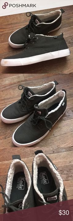 Keds Womens Fur Lined Mid Top Sneakers This women's fabric sneaker kicks your casual look up a notch, with a faux fur lining and mid-top ankle. Brushed metal eyelets.  Polyester Cushioned footbed Lace-up front Non-skid sole IMPORTED.   Worn once Keds Shoes Sneakers