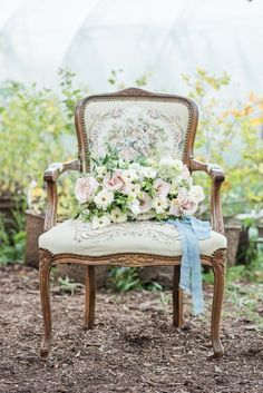 vintage chair // antique style chair // vintage rentals // wedding decor // wedding rentals // vintage wedding rental // soft seating // wedding design ~ #weddingrentals #vintagerentals #chairrental #vintagechair #antiquestylechair Peony Bouquet Wedding, White Wedding Bouquets, Diy Wedding Flowers, Floral Wedding, Bridal Bouquets, Elegant Wedding, Spring Wedding Decorations, Decor Wedding, Wedding Themes