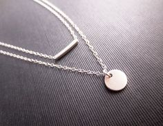 Sterling Silver Layered Necklace, Silver Rectangle Tube Minimalist Necklace, Minimal Bliss. $48.00, via Etsy.