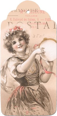 Wings of Whimsy: May Bowley Old Style Music Lady Tag #vintage #ephemera #printable #freebie #girl #instrument