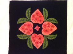 Wool hearts & flowers block 9