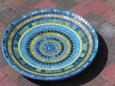 Arte mosaico Hippie azul Mandala plato plato por NewArtsonline