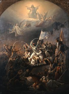 The sortie of Missolonghi by Theodoros Vryzakis oil on canvas, National Gallery of Athens). Greek Independence, Spirit Ghost, Greek Memes, Greece Photography, Greek Warrior, National Gallery, Picture Icon, Greek History, Academic Art