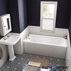 Autre idée: céramiques bain et mur identiques. Belle mosaïque au sol
