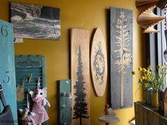 up-cycled pallet tree's and surfboards available at Barking Dog Studio