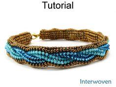 Jewelry Making Beading Pattern - Beaded Bracelet Tutorial - Herringbone Stitch - Simple Bead Patterns - Interwoven Beaded Bracelet Patterns, Beading Patterns, Beaded Jewelry, Handmade Jewelry, Beaded Necklace, Embroidery Bracelets, Braided Bracelets, Seed Bead Bracelets, Seed Beads