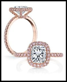 Jean Dousset's Eva rose pink diamonds engagement ring is set in rose gold and encrusted with .70 carats of Argyle fancy pink diamonds. Show here with cushion cut center stone. Via Diamonds in the Library.