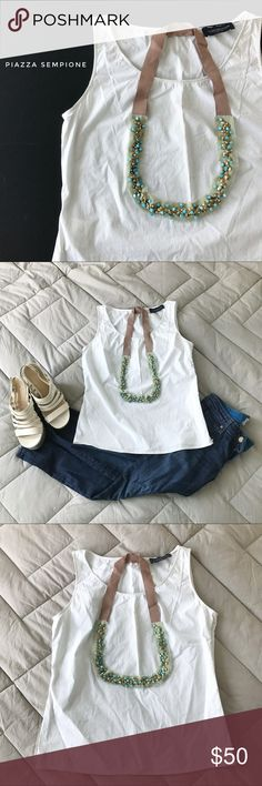 "⭐️ Piazza Sempione top + necklace, size ~4 (IT 40) White sleeveless top with light navy blue pinstripes and detachable necklace at front from Piazza Sempione.  Crew neck, concealed side zipper, metal and glass beads on chiffon and ribbon necklace.  Tailored fit, classic style.   Size ~4 (IT 40) - bust 34"", waist 32"", length 22""  Condition: good - light wear  Material: 92% cotton, 4% polyester, 4% elastane Piazza Sempione Tops Blouses"