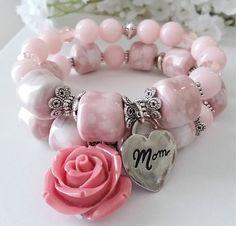 PINK ROSE Bracelet Set / Mother's Day Gift / Stretch Bracelet / New Moms / Baby Shower Gift / Women's Bracelets / Mother In-law / Mom To Be