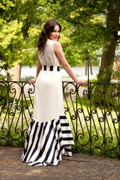 Women's White and Black Vertical Striped Evening Dress Stylish Dresses For Girls, Stylish Dress Designs, Lovely Dresses, Simple Dresses, Casual Dresses, Stylish Dress Book, Indian Fashion Dresses, Indian Designer Outfits, Fashion Outfits