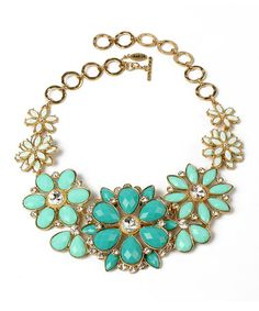 Another great find on #zulily! Turquoise & Gold Crystal Paragano Evening Bib Necklace by Amrita Singh #zulilyfinds