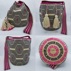 "18 отметок «Нравится», 1 комментариев — Wela DD. (@wela.wayuu) в Instagram: «❤️ Wayuu bag Single thread Special design ""Zebra or Spiderweb "" size L Price 3,600 …» Tapestry Crochet, Knit Crochet, Crochet Purses, Handmade Bags, Purses And Bags, Creations, Crochet Patterns, Embroidery, Knitting"