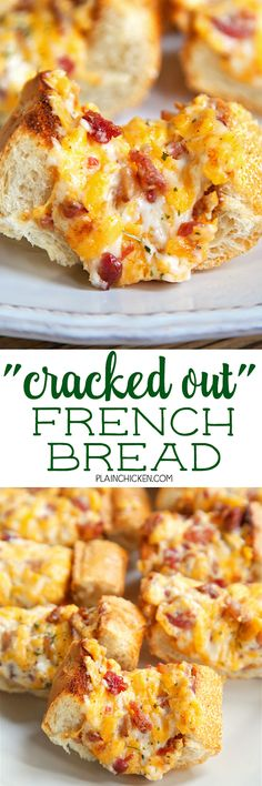 """""""Cracked Out"""" French Bread - crazy addictive! French bread topped with cheddar, bacon and ranch. We could not stop eating this! Serve as a party appetizer or as a side dish to your meal. Either way, t (Favorite Party Appetizers) Appetizers For Party, Appetizer Recipes, Dinner Recipes, Bread Appetizers, French Appetizers, Dip Recipes, Great Recipes, Favorite Recipes, Brunch"""