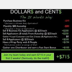 It Works Global! Join my team today and start earning now! What Do YOU have to loose? Ask me how you can try a WRAP for FREE or find out more about It Works Global!  I have already done this in just 4 days of being a Distributor!   Message me!!! Contact me asap! @ aprylgallant.myitworks.com and leave me a message! Don't wait cause you may miss out on the $10,000 bonus opportunity!