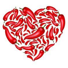 Chili Pepper Heart Shape, Isolated On White Background, Vector Illustration Stock Photo - 10628162