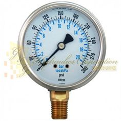 """Part #RV132A3N317KG Series 7211, 1/4"""" NPT Bottom Connection, 2 1/2"""" Gauge Size, 0-300 PSI, Liquid Filled Gauge ."