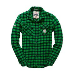 Superdry Milled Flannel Shirt ($78) ❤ liked on Polyvore featuring men's fashion, men's clothing, men's shirts, men's casual shirts en green
