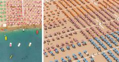 Several years ago, Munich-based photographer Bernhard Lang vacationed at a seaside resort in Adria, Italy and was struck by the perfectly uniform arrangements of colored umbrellas used by each hotel. Last month he returned, this time by air, and shot for several hours on the coastl