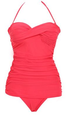 Coral Twist Ruched One-Piece Swimsuit