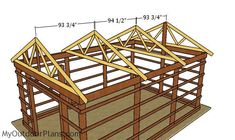 This step by step diy woodworking project is about free pole barn roof plans. This is PART 2 of the pole barn project. In this article I show you my take on building the trusses and how to complete the walls and roofing. Diy Pole Barn, Pole Barn Plans, Pole Barn Garage, Building A Pole Barn, Pole Barn Homes, Pole Barns, Pole Barn Trusses, Roof Trusses, Roof Trim