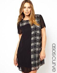 Imagen 1 de Vestido a cuadros de corte recto exclusivo de ASOS CURVE