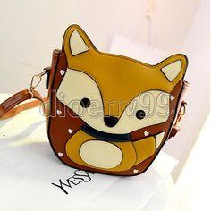 Women-Owl-Fox-Cartoon-Bag-Shoulder-Handbag-Crossbody-Purse-Satchel-Leather-Print