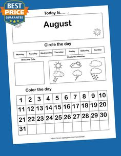 12 Printable Preschool Calendar Worksheet Pages. Month, Day, Date, Weather. Interactive Home school Notebook - Payhip Calendar Worksheets, Printable Calendar Template, Writing Worksheets, Worksheets For Kids, Printable Worksheets, Printables, Kindergarten Learning, Kindergarten Math Worksheets, Kids Learning