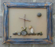 FREE SHIPPING  Precious piece FORGIVEN at the cross. Beautiful, one of a kind gift for anyone.  All materials used are gathered from my local desert (pebbles, twigs, plants). The frame is open, painted in acrylics, and distressed, measuring 9x12. It is ready to hang on a wall, or stand freely.  I love special requests...and dont forget to check out my shop!  Thank you so much for looking. Please message with any questions.