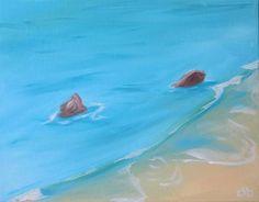 Beach Painting, 14 x 11, Acrylic Painting, Original Art, Corona Del Mar Painting, landscape painting, Seascape Art, Beach House Decor by CFineArtStudio on Etsy