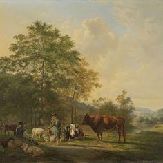 Landschap met herder, bulleman en vee, Pieter Gerardus van Os, 1815 - 1839 - Rijksmuseum