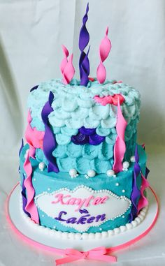 Under the sea pink purple and turquoise birthday cake