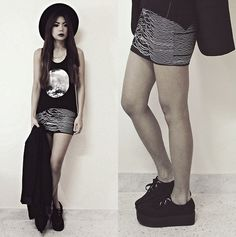 Grunge Fashion, hats, and the moon. Love the shoes! #fashion #style