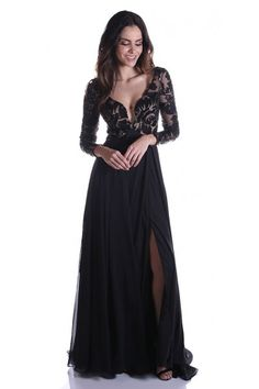 Celebrate drama in this Zoey Grey 31162 chiffon gown featuring long sleeves embellished with sequin embroidery. Sexy Dresses, Evening Dresses, New Designer Dresses, Military Ball Dresses, Bride Groom Dress, Most Beautiful Dresses, Glamour, Chiffon Gown, Dress To Impress