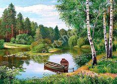 Лодочки у лесного берега, картины раскраски по номерам, размер 40*50см, на подрамнике, цена 750 руб.