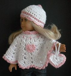 18 Inch Doll Valentine Poncho Set Crocheted by Lavenderlore to fit the American Girl Doll Made to Order – You Choose Style and Color – Toys Crochet Doll Dress, Crochet Doll Clothes, Crochet Doll Pattern, Hat Crochet, American Doll Clothes, Ag Doll Clothes, American Dolls, American Girl Crochet, Little Doll