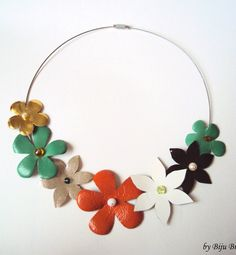 Colorful Leather Flowers Bouquet Necklace