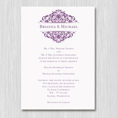 Blooming Vinyard Corners Wedding Invite Microsoft Word Template