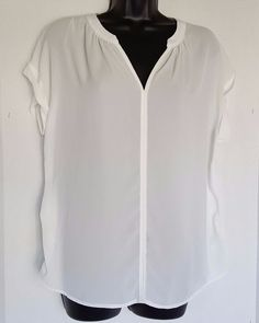 Pleione Womens Short Sleeve High/Low V Neck Mixed Media Top Size Small #Pleione #Blouse #Career