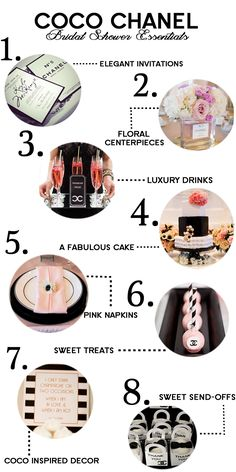 Our Go-To Guide for the perfect Coco Chanel Bridal Shower! #EvalinesBridal #Chanel #BridalShowers