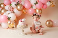 Cleveland Baby Photographer, Pink and Gold Cake Smash, Katherine Chambers Photography ( Happy Birthday Baby Girl, 1st Birthday Party For Girls, 1st Birthday Themes, 1st Birthday Cake Smash, Birthday Cakes, One Year Birthday Cake, Baby Cake Smash, Baby Girl Cakes, Birthday Girl Pictures