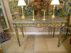 Painted and gilded wood Louis XVI Period Console table, 18 th Century. For sale on Proantic by Sylvain Rochas .#console #18thcentury