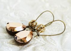 Rose+Gold+Swarovski+Crystal+Earrings+taupe+copper+by+SSSJ+on+Etsy,+$22.00