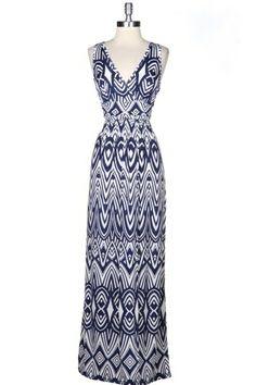 Patterned Blue Maxi Dress