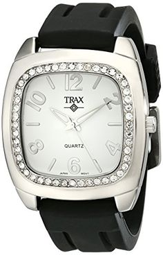 Trax Women's TR1740-WB Malibu Fun Black Rubber White Dial Crystal Watch - Jewelry For Her
