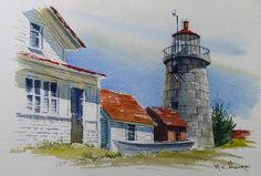 Watercolor Painting of Monhegan Lighthouse